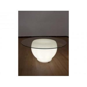 Mesa OU blanca iluminada con cristal