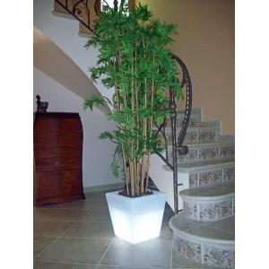 Maceta cuadrada iluminada blanca 35
