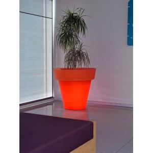 Maceta redonda iluminada color naranja 80